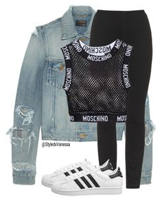 Untitled #375 by vanessa-antar on Polyvore featuring polyvore, fashion, style, Moschino, Yves Saint Laurent, adidas Originals and clothing