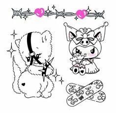 Mini Drawings, Easy Drawings, Tattoo Drawings, Cute Tiny Tattoos, Dream Tattoos, Hello Kitty Tattoos, Doodle Tattoo, Temp Tattoo, Anime Tattoos