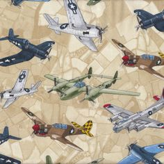 World War II Fighter Planes Aeroplanes Airplanes Quilt Fabric - Find a Fabric. Available to purchase in Fat Quarters, Half Metre, 3/4 Metre, 1 Metre and so on.