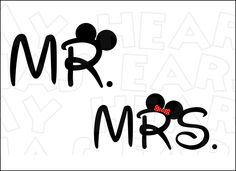 Mr. and Mrs. with Mickey Minnie ears INSTANT DOWNLOAD digital clip art DIY iron on transfer My Heart Has Ears. What Newlyweds wouldn't look adorable walking down Main Street in Disney with these cute designs?! Wonderful matching designs for your honeymoon!