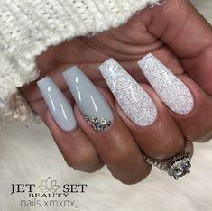Ballerina Nails. Gray and White Nails. White Glitter Nails. Nails With Rhinestones. Acrylic Nails. Gel Nails.