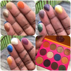 Nubian 2 Palette swatches on dark skin.  Juvia's Place #nubianpalette2 #darkskin #browngirls. Eyeshadow.