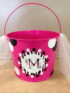 Custom Zebra Print Metal Easter Bucket Basket on Etsy, $20.00