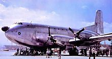 YC-124B     Douglas Model 1182E was a turboprop variant of the C-124A with four Pratt & Whitney YT34-P-6 turboprops; originally proposed as a tanker, it was used for trials on the operation of turboprop aircraft.