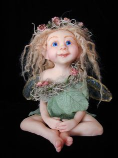 Polymer clay Art Doll ~ Kathy Davis Very pretty!    *********************************************    repin - #miniature #miniatures #fairy #garden #gardens #crafts #DIY #whimsical #whimsy #doll - ≈√
