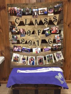 High school graduation photo display with rustic pallet, twine, and burlap