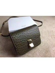 Celine Ostrich Venis Calfskin Classic Medium Box Bag Dark Green 84040bdd32a5c