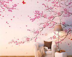 Flor de cerezo grande pared calcomanía de vinilo flor de