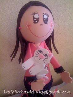 Fofucha chica joven jersey Hello Kitty con su gato - parte superior/Fofucha doll young girl wearing a Hello Kitty jumper with her cat - upper part