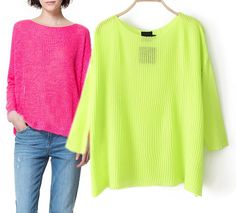 Bright Color Loose Knit Sweater