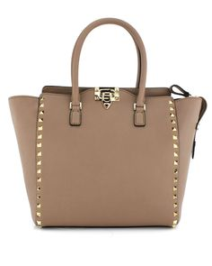 Valentino Sand Rockstud Handle Bag