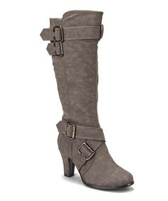 Anna Shoes  -  Gray Buckle Tall Boot