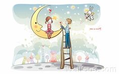 Young Love - Valentine Cute Couple illustrations  - Heart for you - Valentine Couple, Valentine's Day illustrations 3
