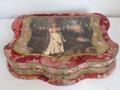 Antique Victorian Ladies Celluloid & Velvet Vanity Dresser Box with Contents