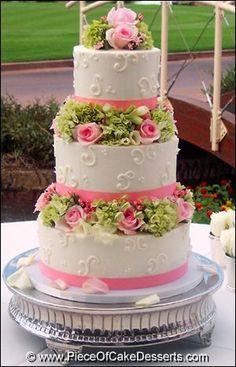 Pink & Green round wedding cake