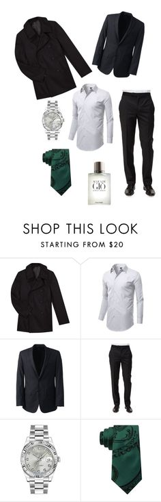 """Lucius - The World I Know"" by elizabeth-lamp ❤ liked on Polyvore featuring agnès b., Lands' End, Ermenegildo Zegna, Rolex, Sean John, Giorgio Armani, men's fashion and menswear"