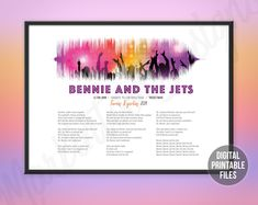 Bennie and the Jets, Custom Sound Wave and Lyrics art, Printable digital poster, Instant download files, Personalized country soundwave gift Goodbye Yellow Brick Road, Printable Art, Printables, Sound Waves, You Are The Father, Custom Art, Order Prints, Jets, Printing Services
