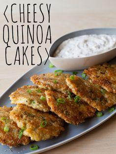 Cheesy Quinoa Cake recipe with a roasted garlic aioli