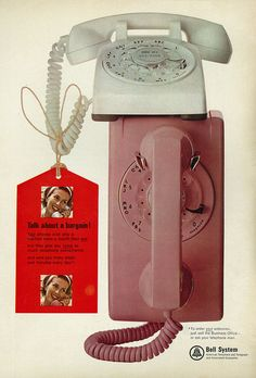 A great vintage 1965 Bell Telephone showing off a pink wall phone... and the standard white desk phone...
