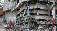 Las fuertes lluvias provocaron el desplome de este edificio en Nairobi, Kenia, en abril