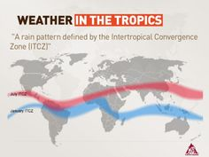 Weather in the tropics  A rain pattern define by the intertropical convergence Zone (ITCZ)