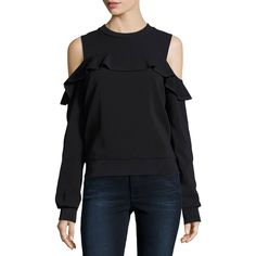 A.L.C. Lindsey Cold-Shoulder Ruffle Top (4.783.045 IDR) ❤ liked on Polyvore featuring tops, black, cut shoulder tops, frill top, long tops, frilly tops and ruffle top