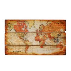 map decoupage on old wood - need to research process. Love it!