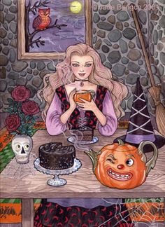 Image result for Jade Bengco art witch eating chocolate cake