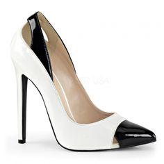 Chaussure fantaisie escarpins coloris blanc et noir talon fin sexy-22