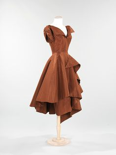 Dress, Evening  Charles James  (American, born Great Britain, 1906–1978)  Date: 1952 Culture: American Medium: Silk Dimensions: Length at CB (a, b): 50 in. (127 cm) Credit Line: Brooklyn Museum Costume Collection at The Metropolitan Museum of Art, Gift of the Brooklyn Museum, 2009; Gift of Mrs. R. A. Bernatschke, 1955