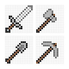 Minecraft Perler Beads weapons