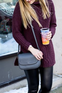 Perfect sweater for tall girls | Cable tunic turtleneck sweater for women | burgundy long sweater and leather leggings | j. crew signet flap bag in gray