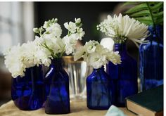 Or maybe this for the centerpiece... navy blue bottles with white flowers