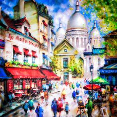 Colorful painting of Sacre Coeur and Montmartre in Paris — Photo by martinm303