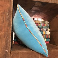 Turquoise Velvet Cushion piped all around with ANY of our beautiful striped fabrics. Velvet Cushions, Cotton Velvet, Striped Fabrics, Stripes, Turquoise, Throw Pillows, Pink, Beautiful, Color