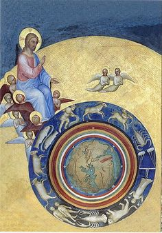 Now leaving the Age of Pisces and looking for the man with the water pitcher // Giusto de' Menabuoi - La Création du monde: Christ Chronocator (c. Medieval Manuscript, Medieval Art, Illuminated Manuscript, Tarot, Early Christian, Christian Art, Renaissance Kunst, Christian Paintings, Baroque Art