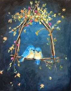 ^ Who doesn't love a pair of bluebirds of happiness perched together on a floral bower. Couple Painting, Spring Painting, Painting Gallery, Pictures To Paint, Animal Paintings, Bird Art, Cute Art, Painting Inspiration, Painting & Drawing