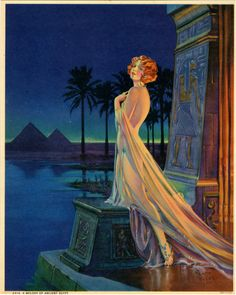 HENRY CLIVE PIN-UP PRINT C. 1930 ART DECO EGYPTIAN THEMED EXOTIC FLAPPER RARE+  A MELODY OF ANCIENT EGYPT