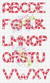 Cross-stitch Candy Cane ABCs, part 1... no color chart available, just use the pattern chart as your color guide.. or choose your own colors...   Atelier Colorido PX