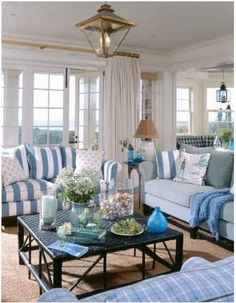light and bright family room, adore the lantern not to mention the FABULOUS blue and white color scheme, coastal living room Coastal Living Rooms, Cottage Living, Coastal Cottage, Home And Living, Living Room Decor, Coastal Decor, Coastal Farmhouse, Coastal Curtains, Living Area