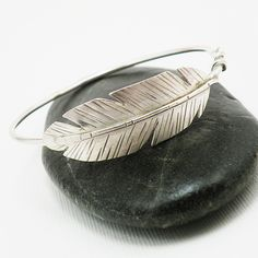 Sterling Silver Bangle Bracelet Bohemian Feather Jewelry - Take Flight
