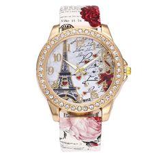 5978fce39 BCDshop Womens Wrist Watch Vintage Paris Eiffel Tower Leather Band Crystal  Quartz Dial Watch White Stainless