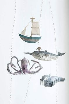 My kind of Christmas ornaments! Sea story sailboat, narwhal, octopus and glass walrus ornaments from Anthropologie. Nautical Christmas, Beach Christmas, White Christmas, Christmas Time, Retro Christmas, Christmas Angels, Xmas Ornaments, Christmas Decorations, Paper Ornaments