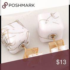 White Granite Studs CZ granite cube post studs. Jewelry Earrings