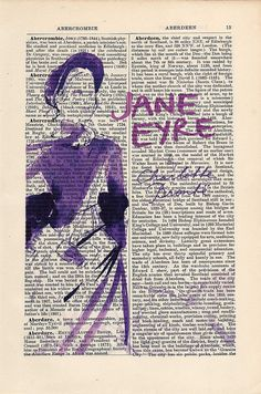 Jane Eyre by Charlotte Bronte Print on an antique page