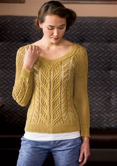 """Go There Now MIDSUMMER ARAN Ginevra Martin The Aran is converted to a summer garment with allover lace patterning and a V-neck. Sweater is knit in the round from the bottom up. Finished Size 35 (39¼, 43½, 47¾, 52)"""" bust circumference. Pullover shown measures 35"""". Yarn Lanaknits Hemp for Knitting Cashmere Canapa (60% cotton, 30%…"""
