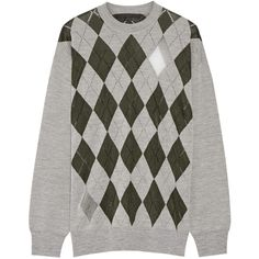Alexander Wang Mesh-paneled argyle merino wool-blend sweater ($620) ❤ liked on Polyvore featuring tops, sweaters, alexander wang, emerald, argyle sweater, intarsia sweater, loose sweater, mesh top and grey top