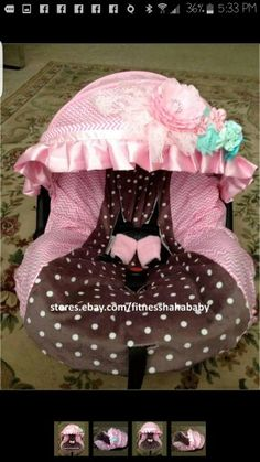 2a9d8673ddcab New adorable infant car seat cover canopy cover fit most seat Brown   baby  pink