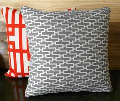 Decorative pillow Modern gray geometric throw by pillowflightpdx, $28.00