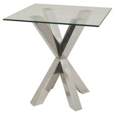 Check out this item at One Kings Lane! Monika Side Table, Chrome/Glass